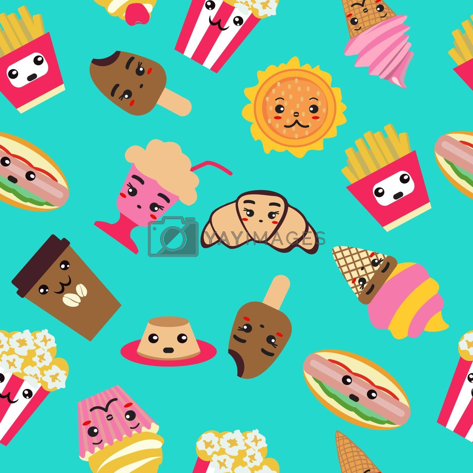 Seamless pattern with fast food cute background. Coffee, burger, french fries, ice cream, hot dog, popcorn, cupcake Kawai and cute food illustration