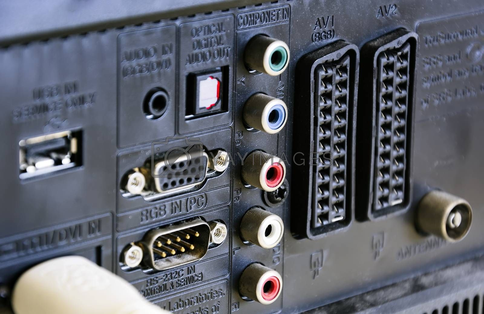 Rear panel of a television with sockets for audio / video, scart connections and for rgb video input for the monitor. Technology and connections between devices