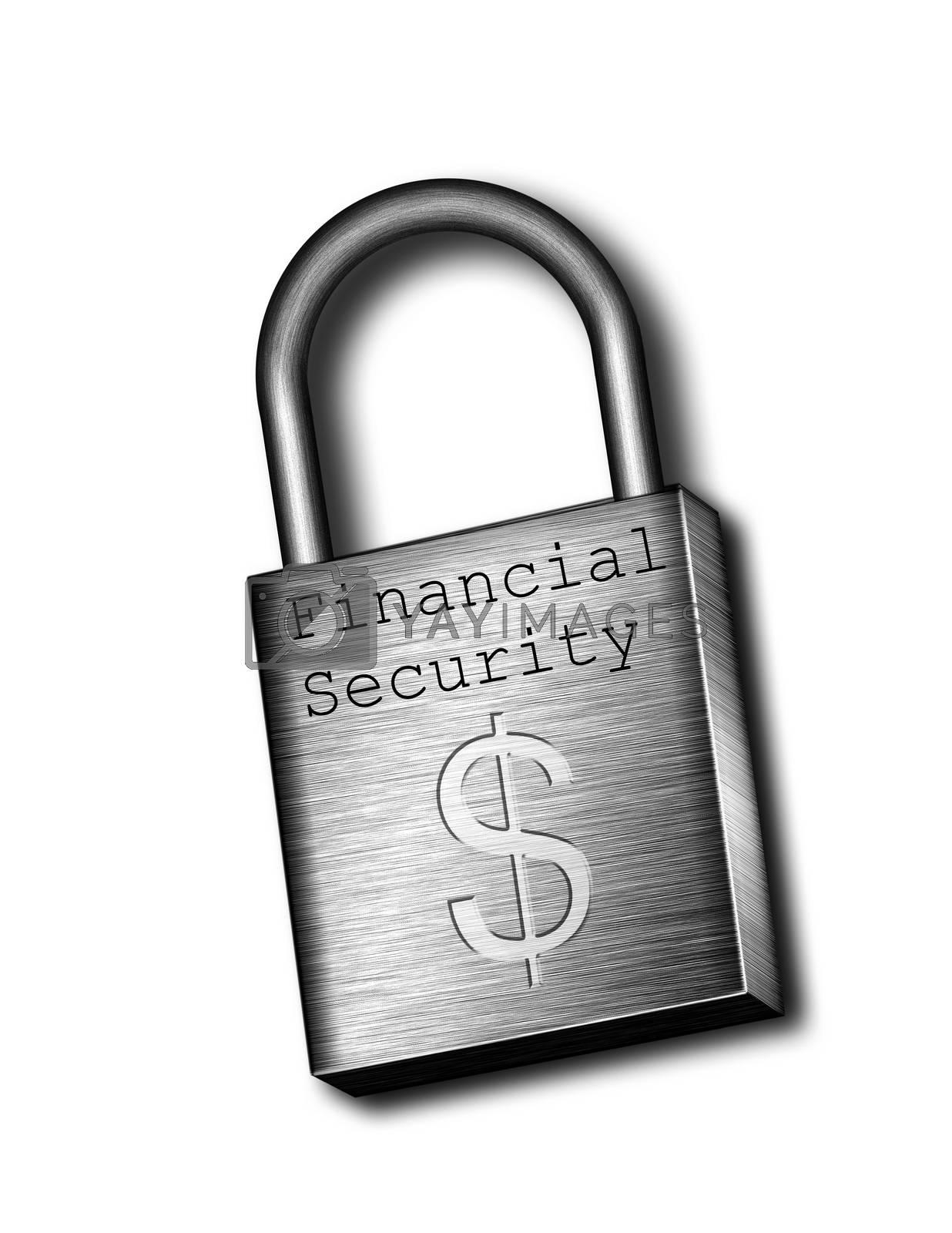 Closed padlock symbolizes financial security. US Dollar sign.