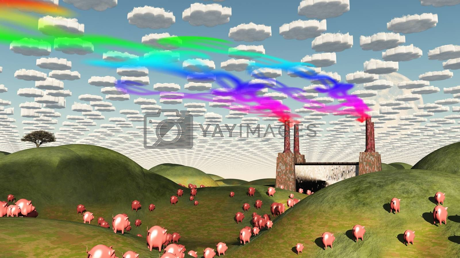 Surreal landscape with factory and pigs moviong toward factory