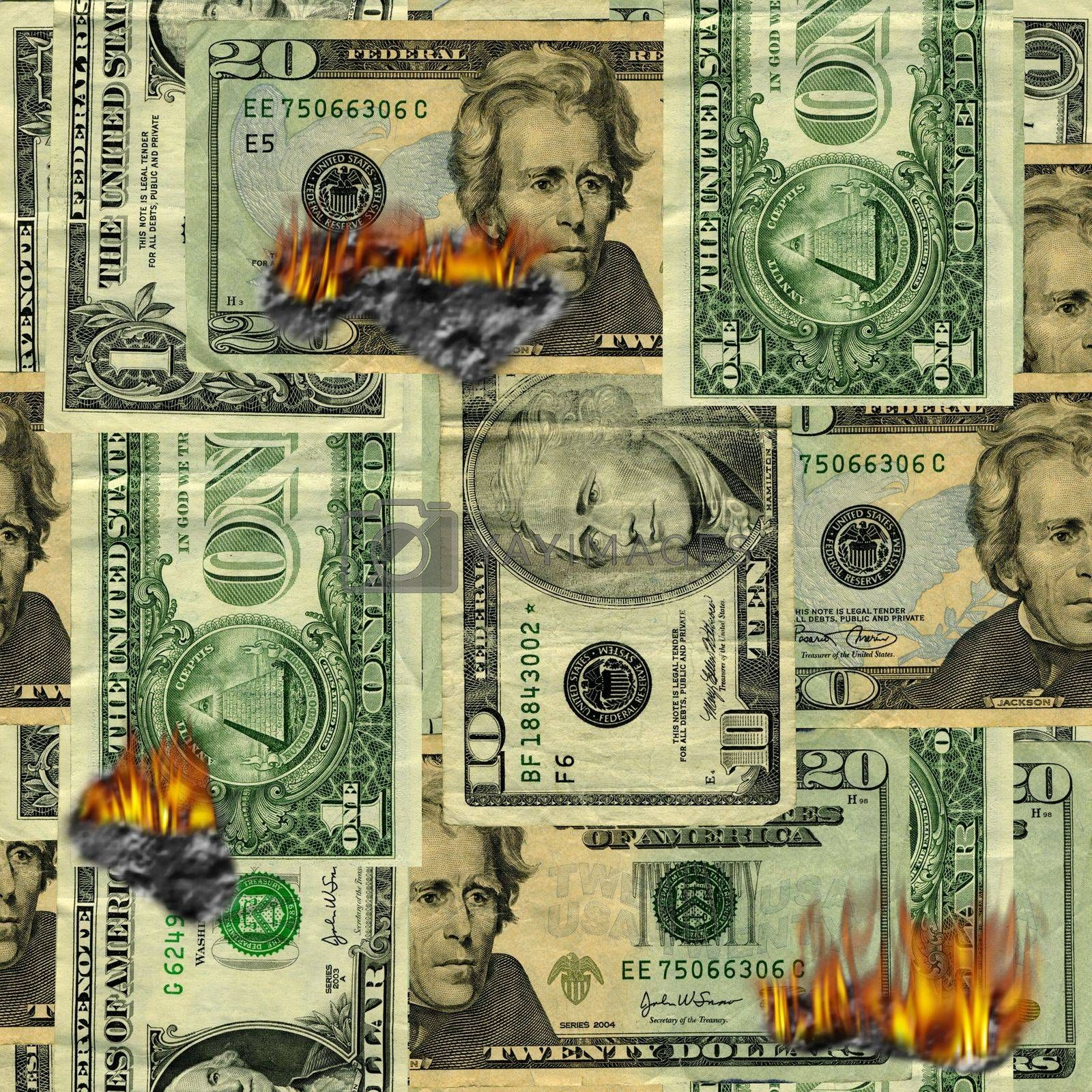 Burning US dollars bills pattern
