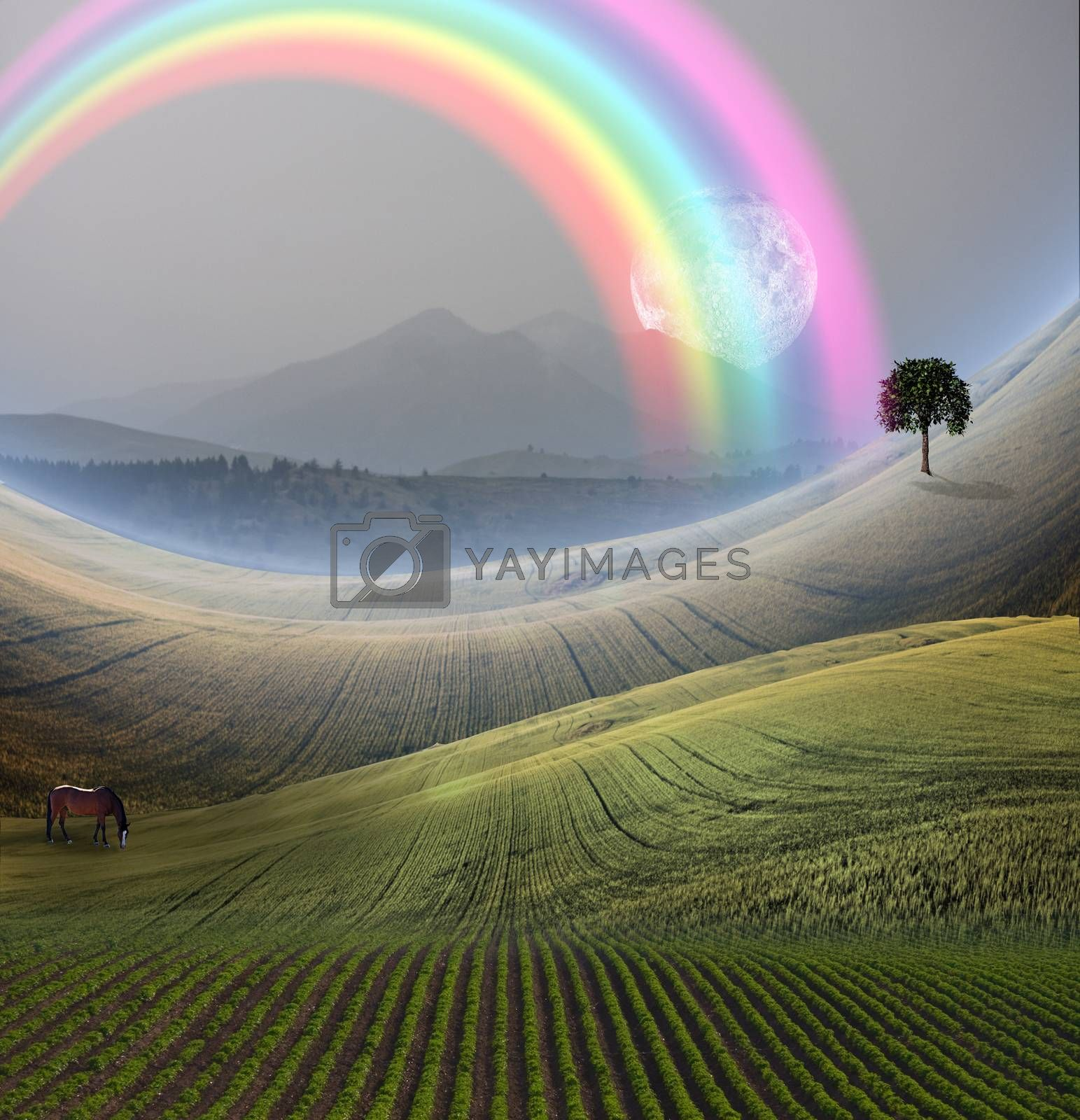 Peaceful Landscape with Mountain and rainbow. Giant moon rises at the horizon. Horse grazes in the field