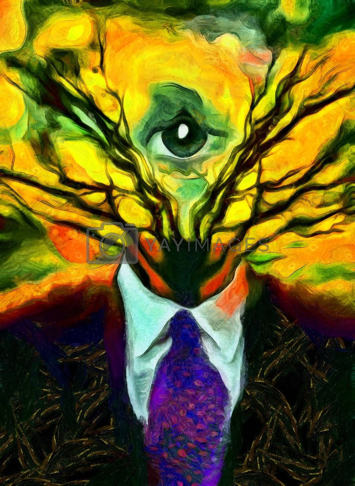 Surreal painting. Man's figure in a suit with tree branches and all-seeing eye instead of head.