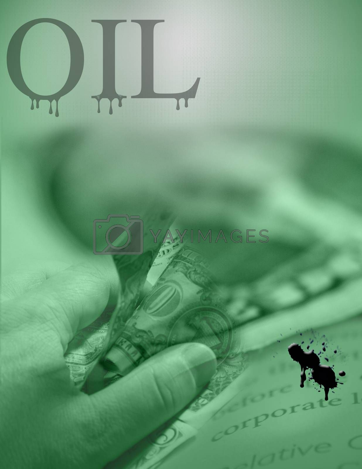 Dollars in human hand and crude oil stains