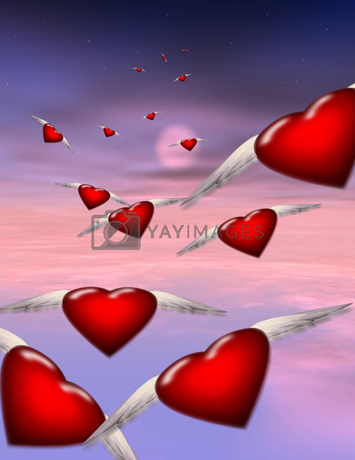 Winged hearts fly in formation