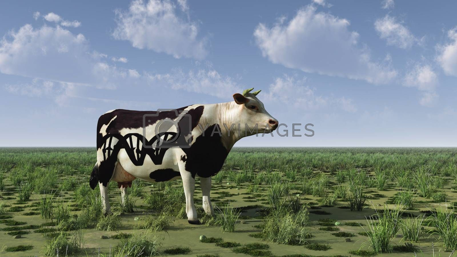 Surrealism. 3D rendering. Cow with DNA chain sign stands on green field.
