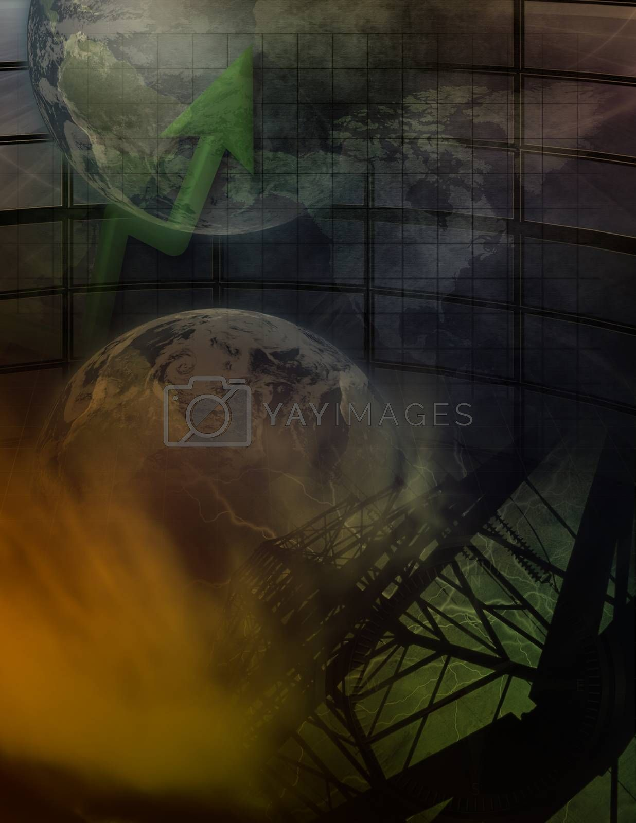High voltage pillar, chart and globe.