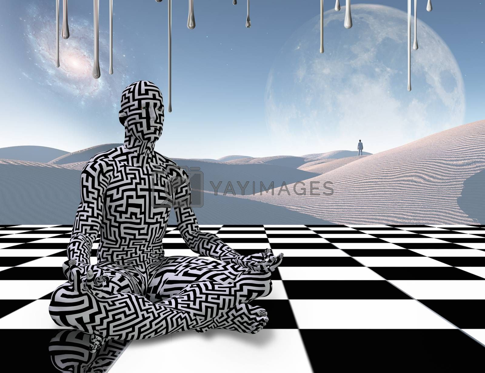 Meditation on a chessboard by applesstock