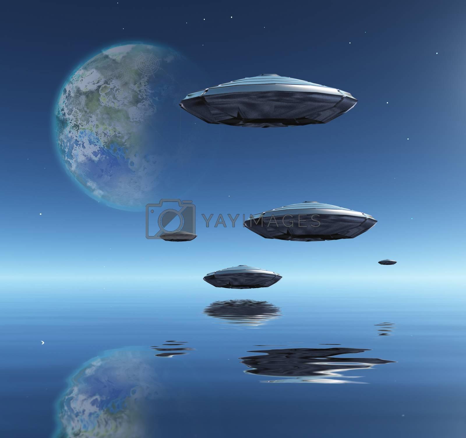 Flying saucers flies above ocean on water planet. Terraformed moon in the sky