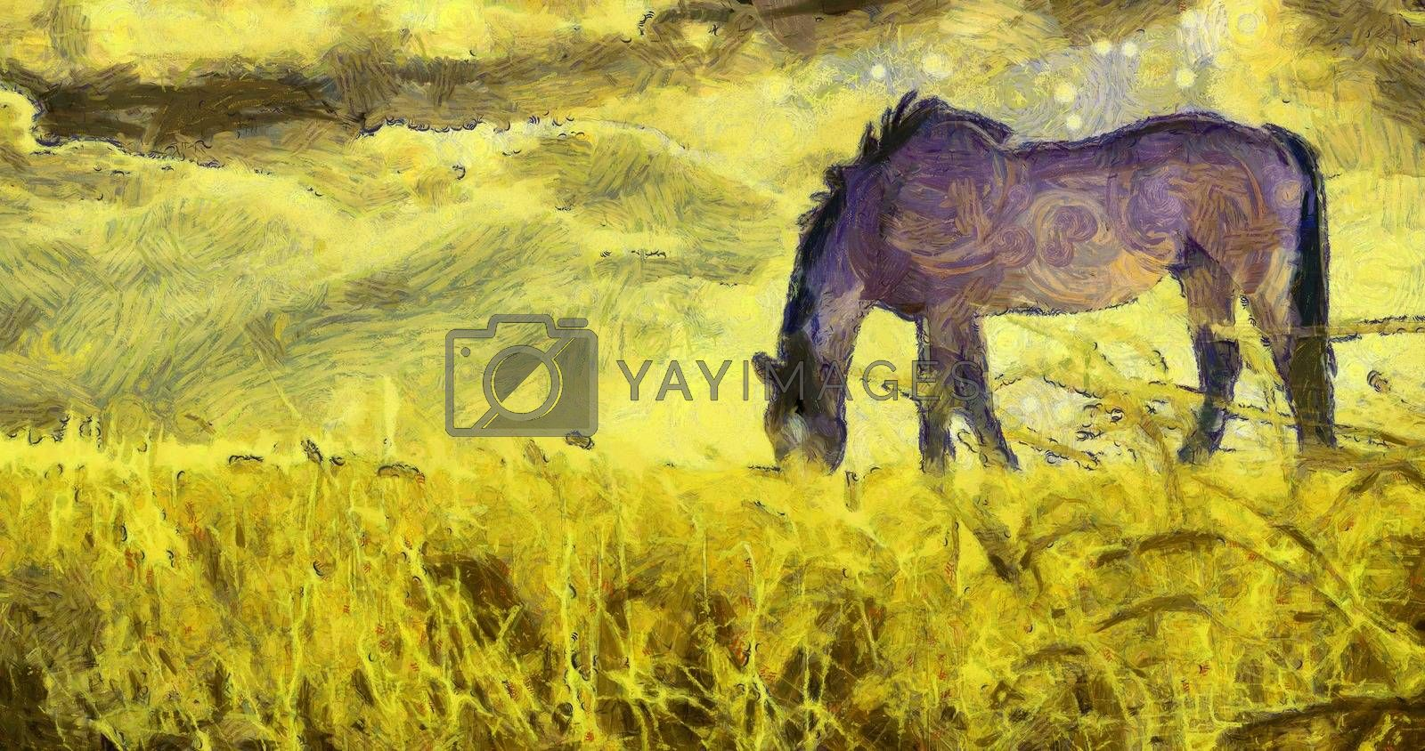 Oil painting. Horse on pasture.