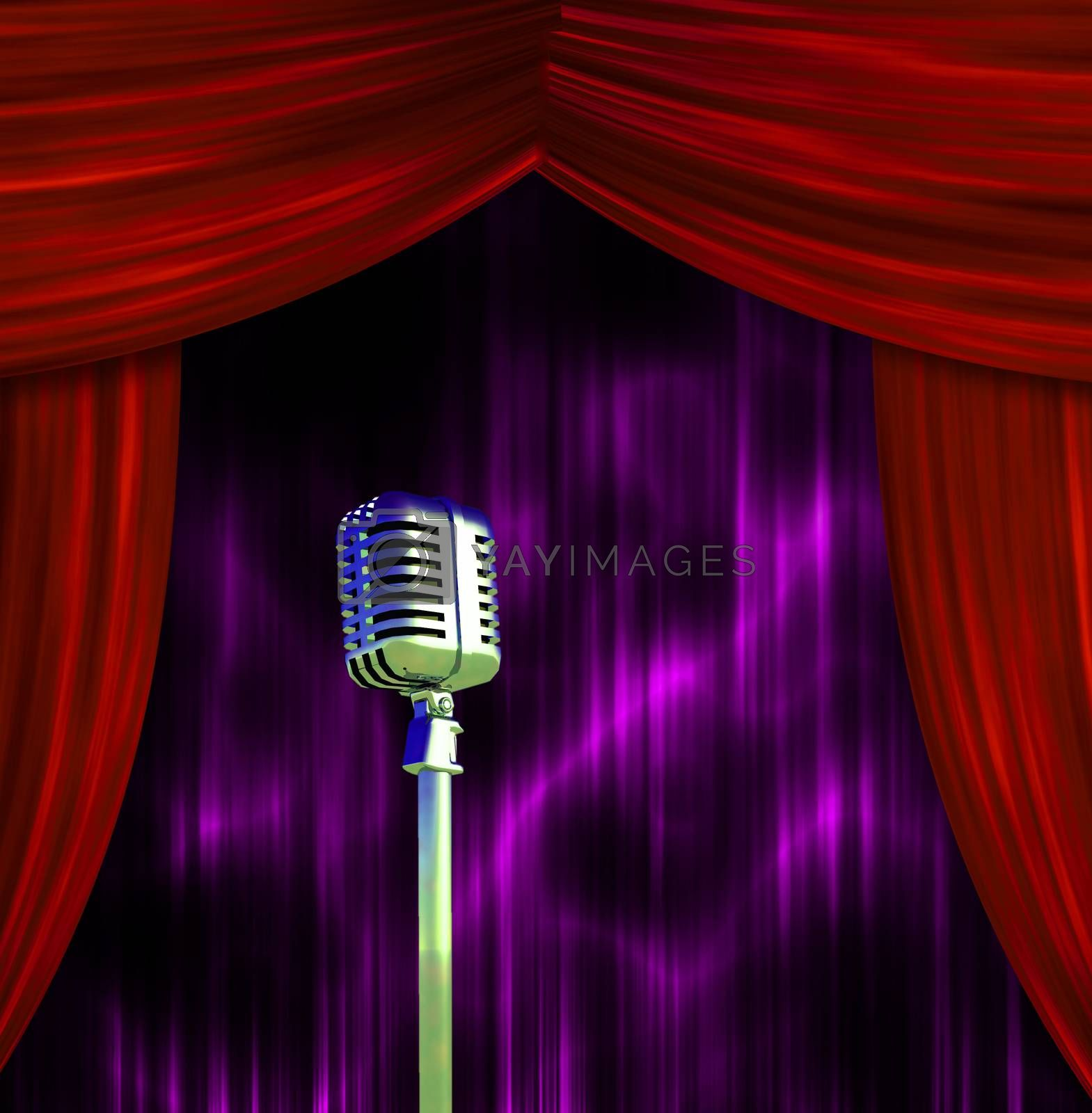 Classic Microphone at the stage by applesstock