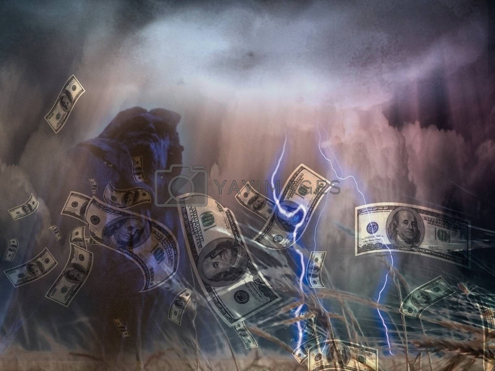 Money storm at the field of wheat.