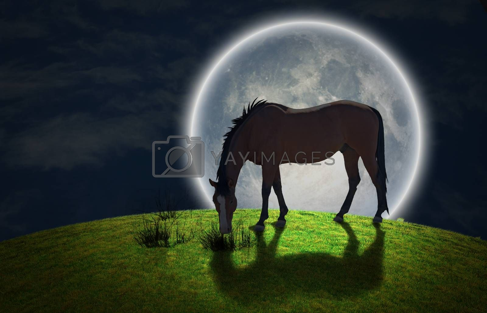 Surrealism. Horse grazes on greem meadow. Giant moon at the horrizon. Some elements image credit NASA.