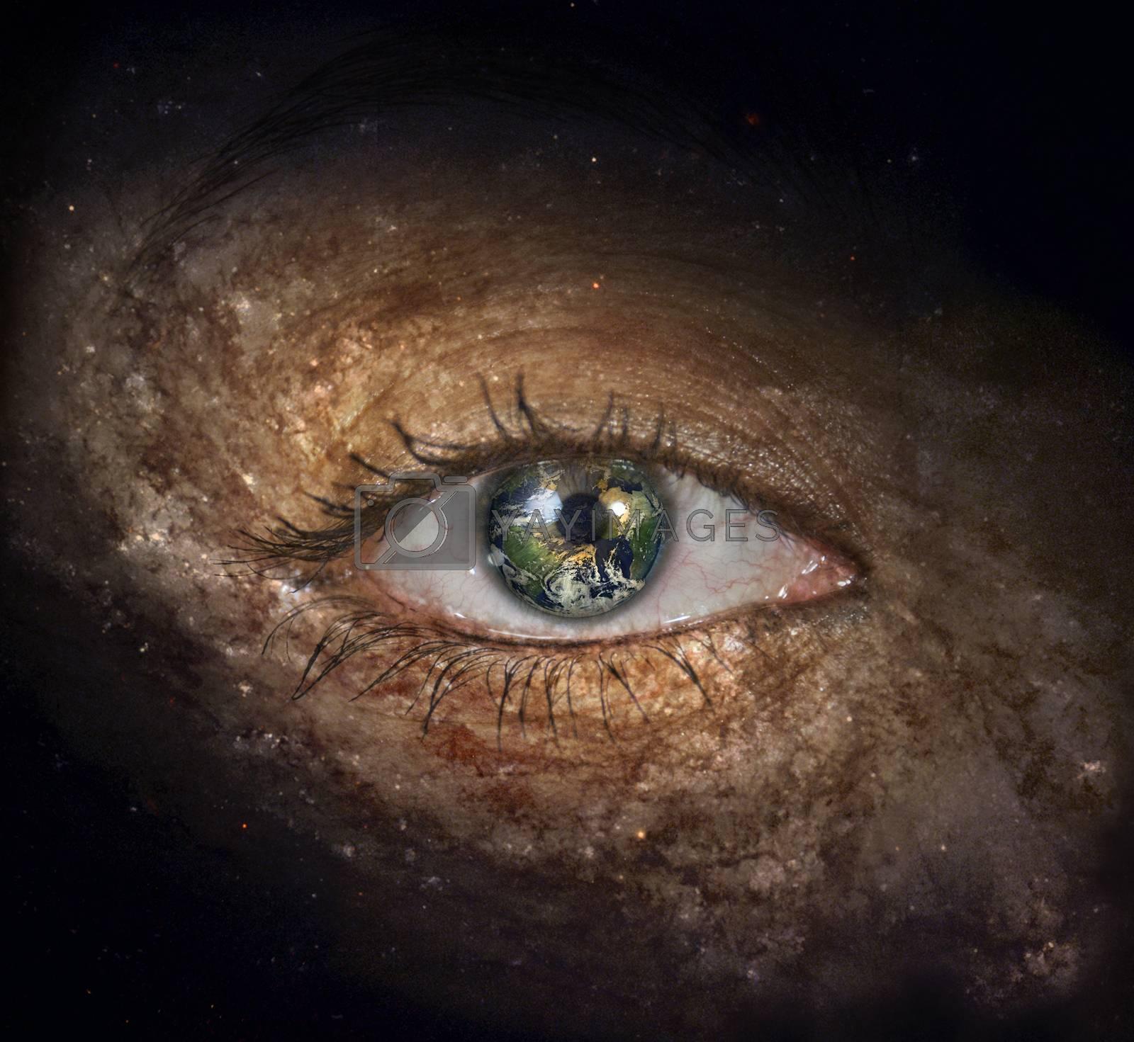 Surrealism. Woman's eye with galaxies. Planet Earth Iris.