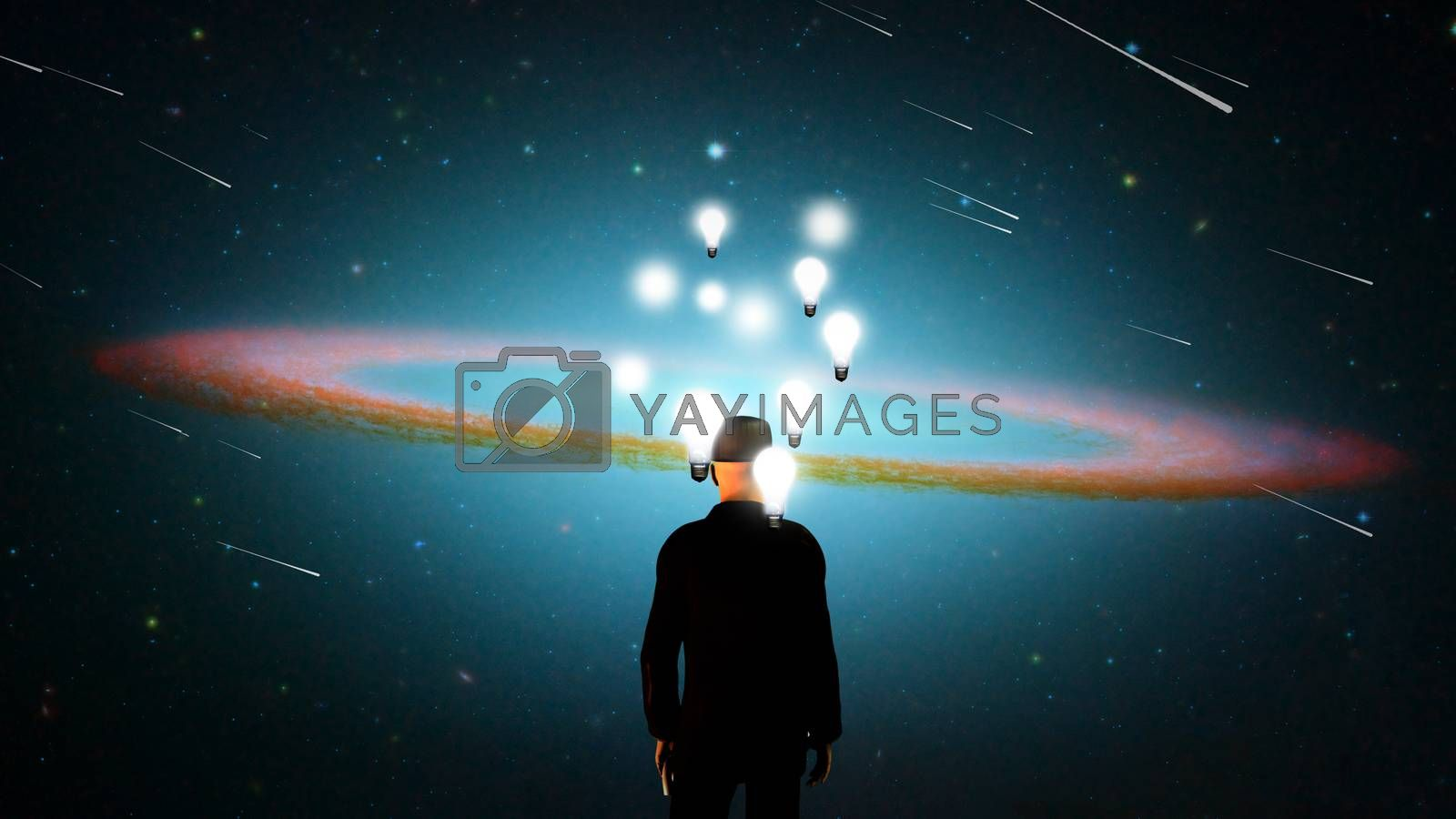 Surreal composition. Man in suit stands before vivid universe. Lightbulbs represents thoughts and ideas. 3D rendering