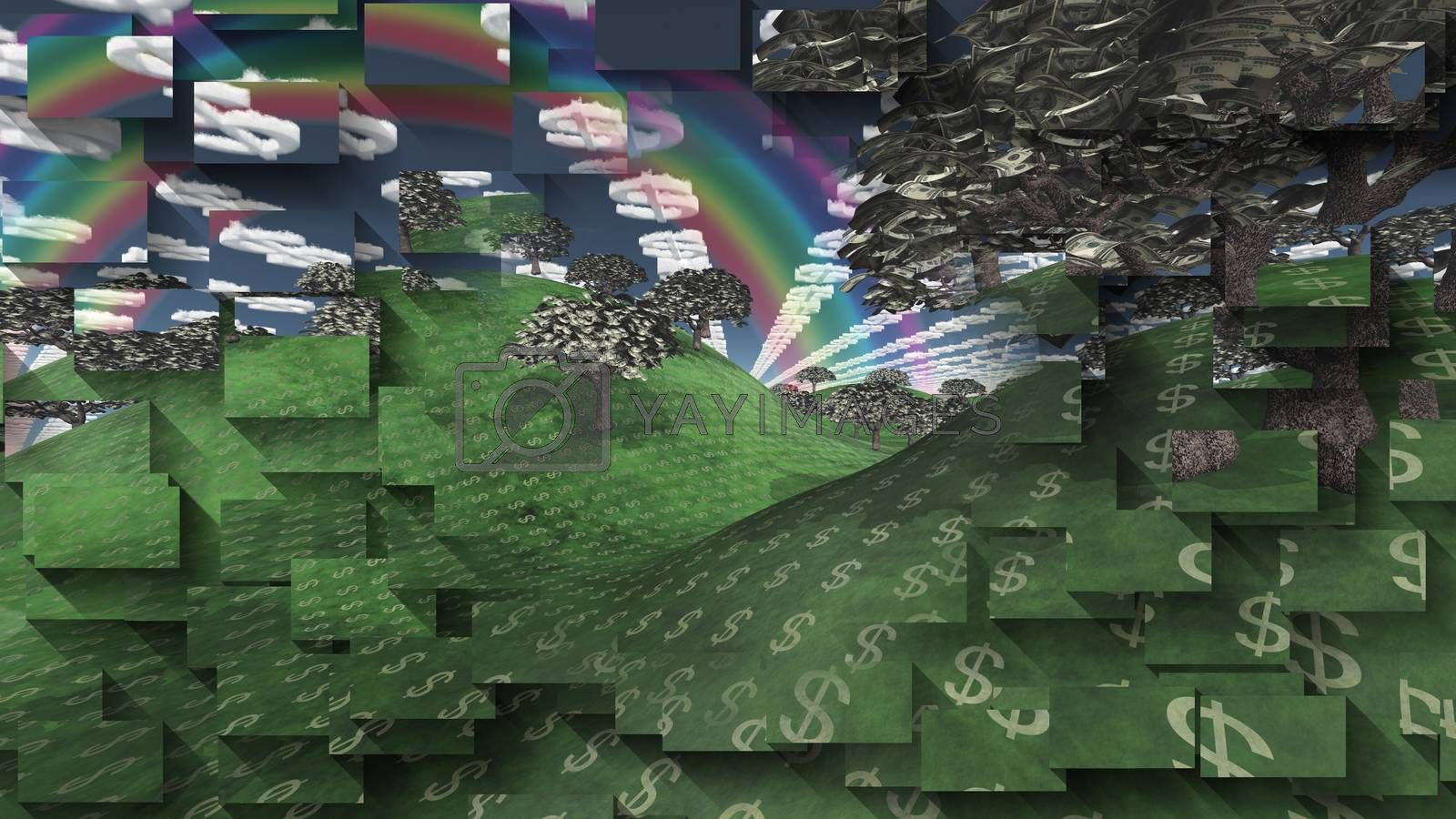 Surreal digital art. Landscape with currency elements. Trees with dollars banknotes instead of leaves. Clouds in shape of dollars sign. Rainbow in the sky.