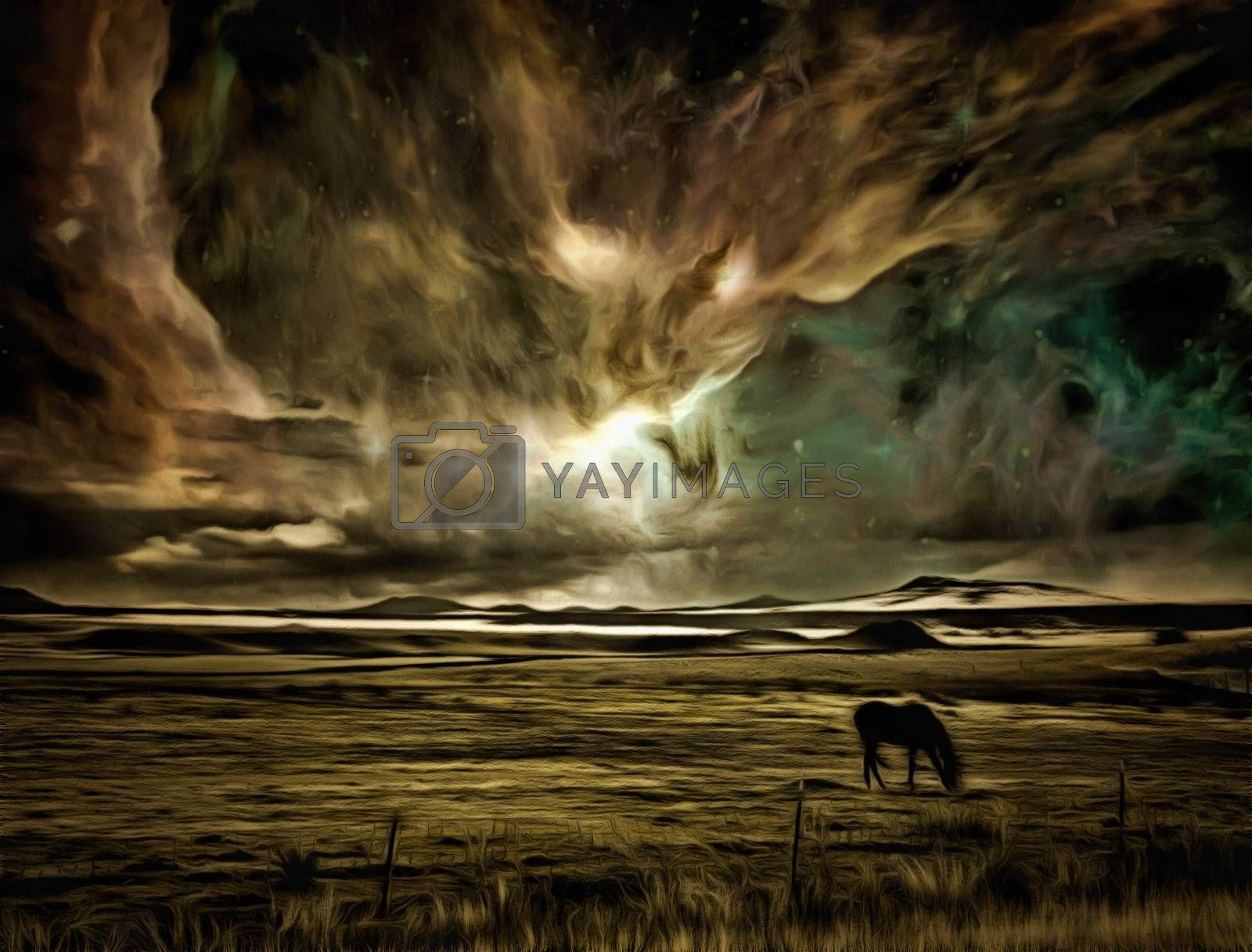 Surreal digital art. Horse grazes in the field. Vivid colorful sky with stars and galaxies.