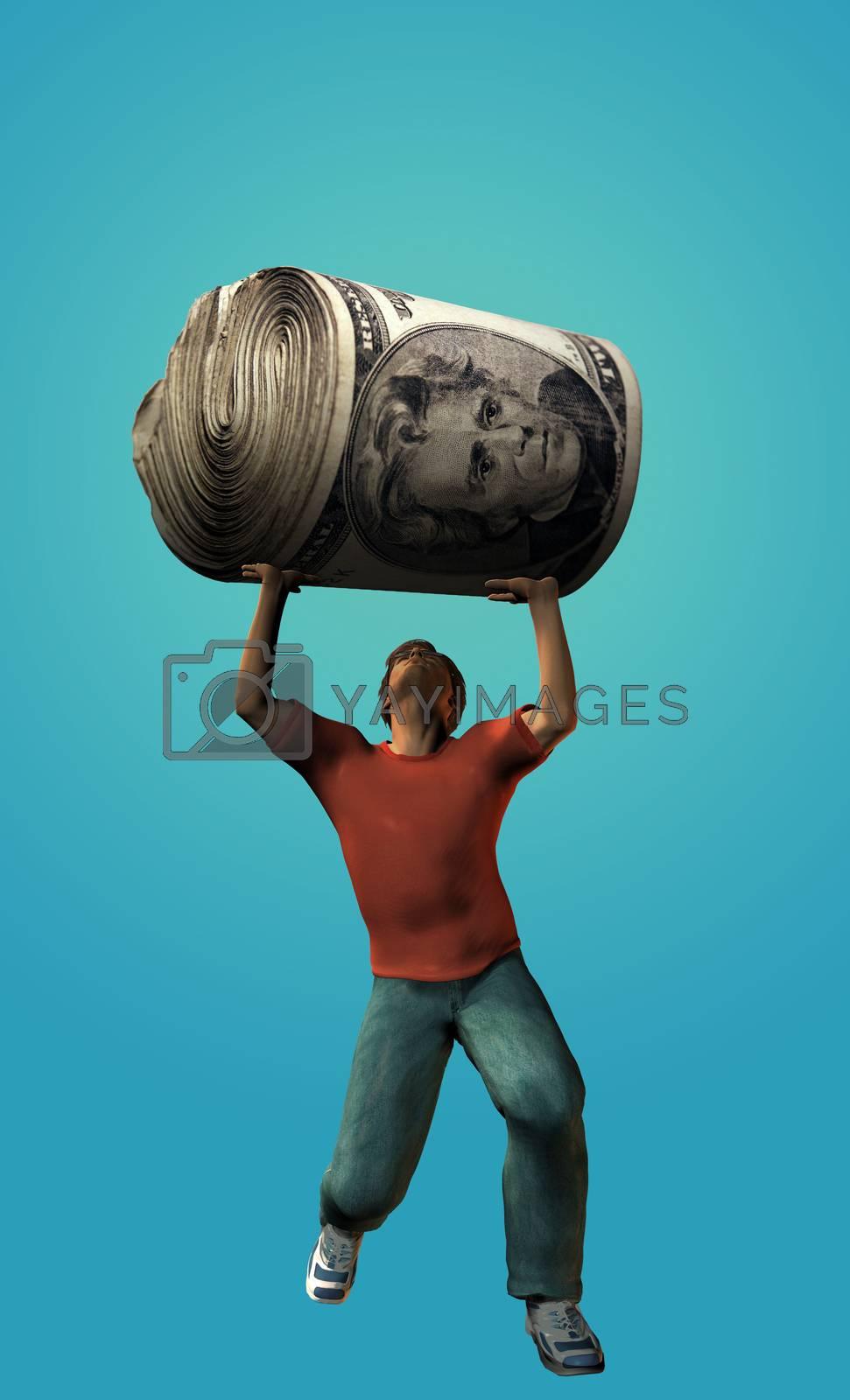 Man holds money roll