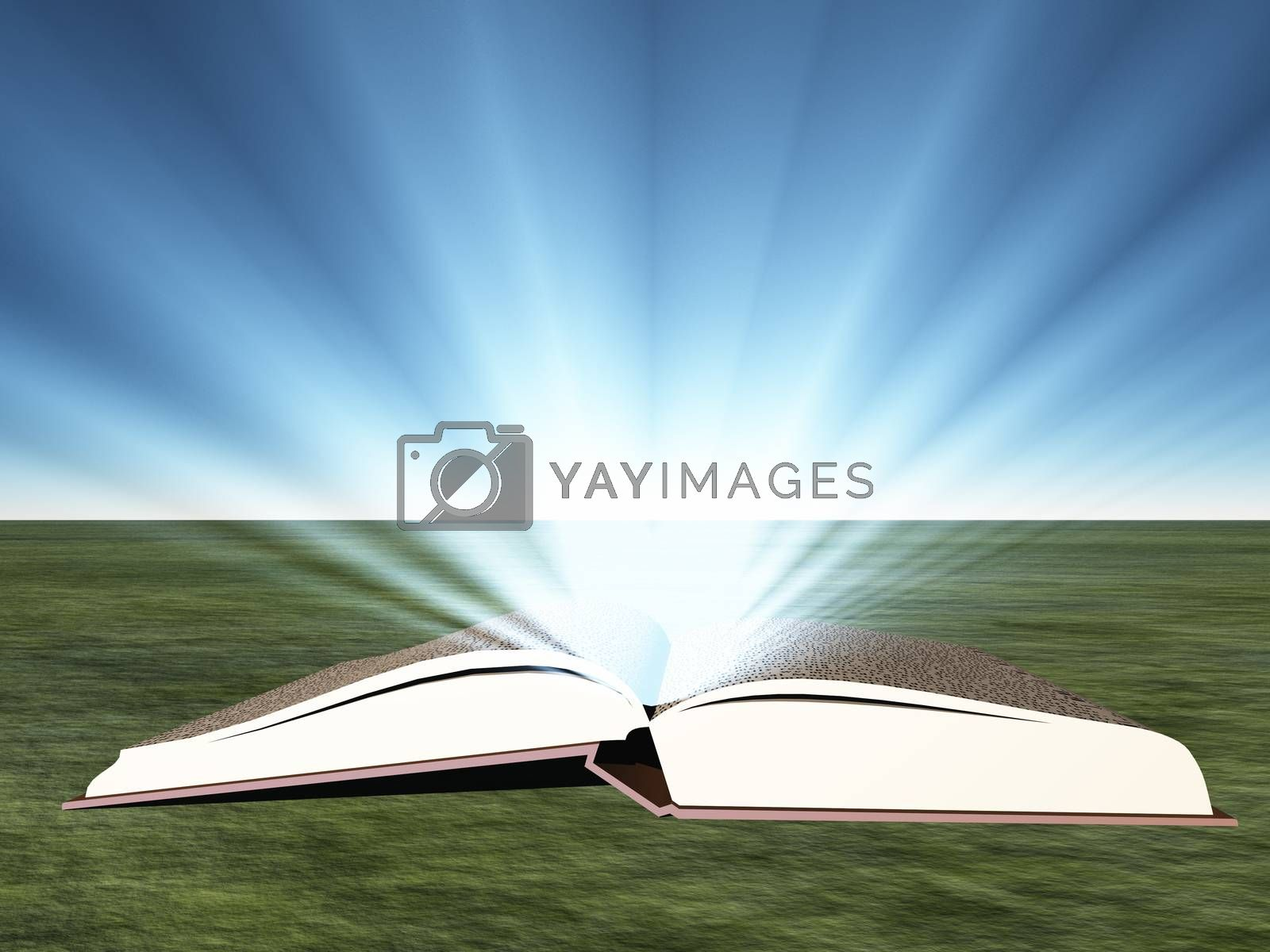 Opened book with bright light