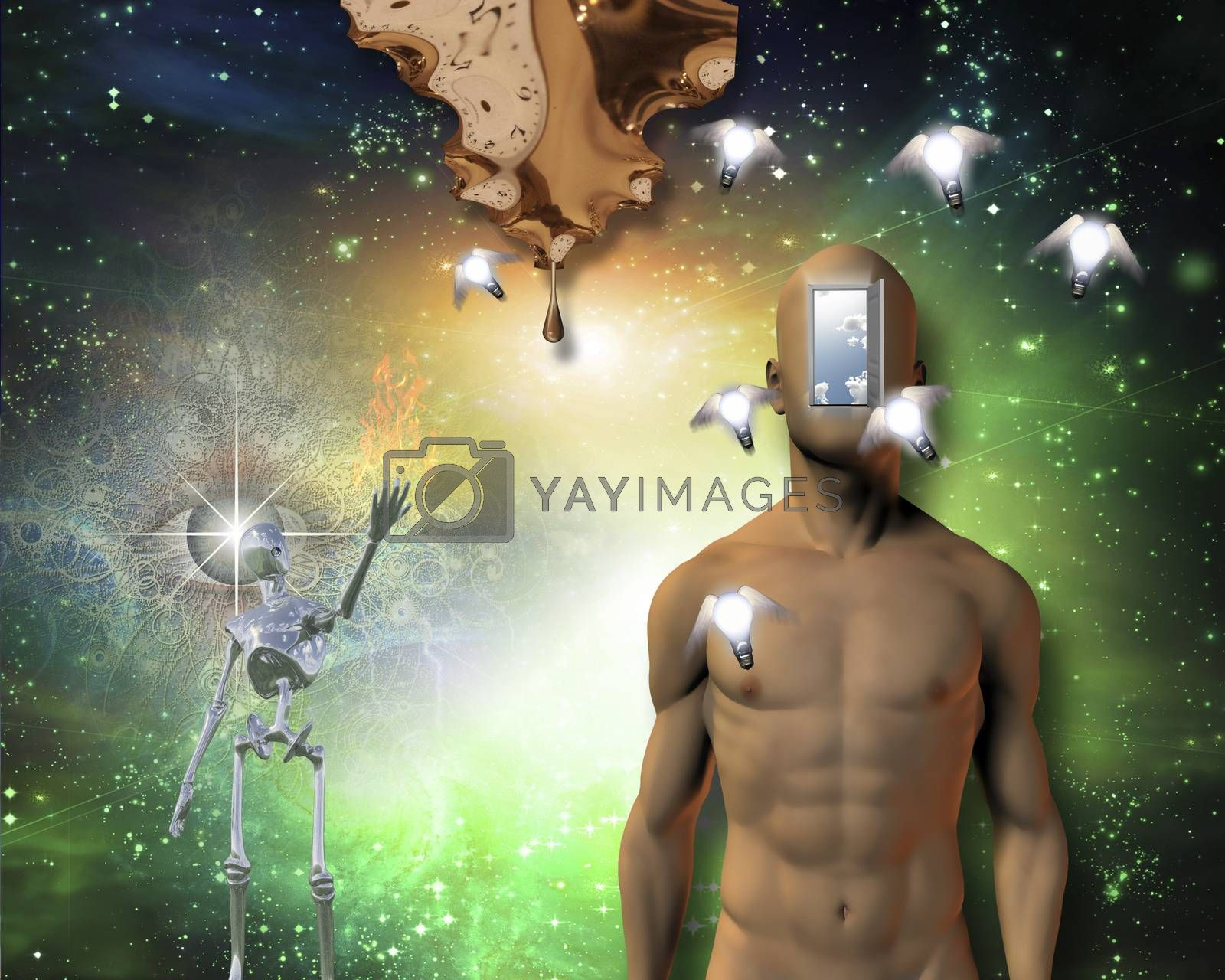 Naked man open door in face, winged light bulbs, warped time drips, gleaming robot, large flame, watchful eye and further still is deep space Some elements provided courtesy of NASA
