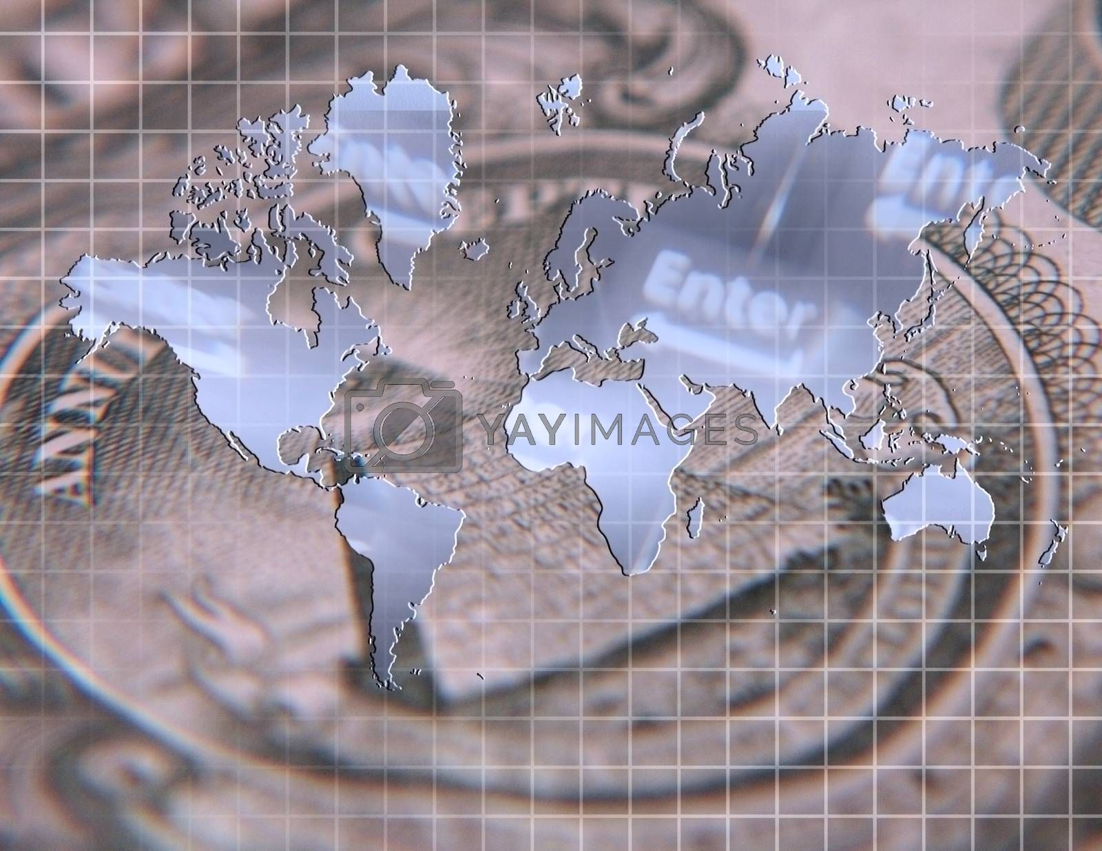 Worlds map with computer keyboard on dollar banknote background