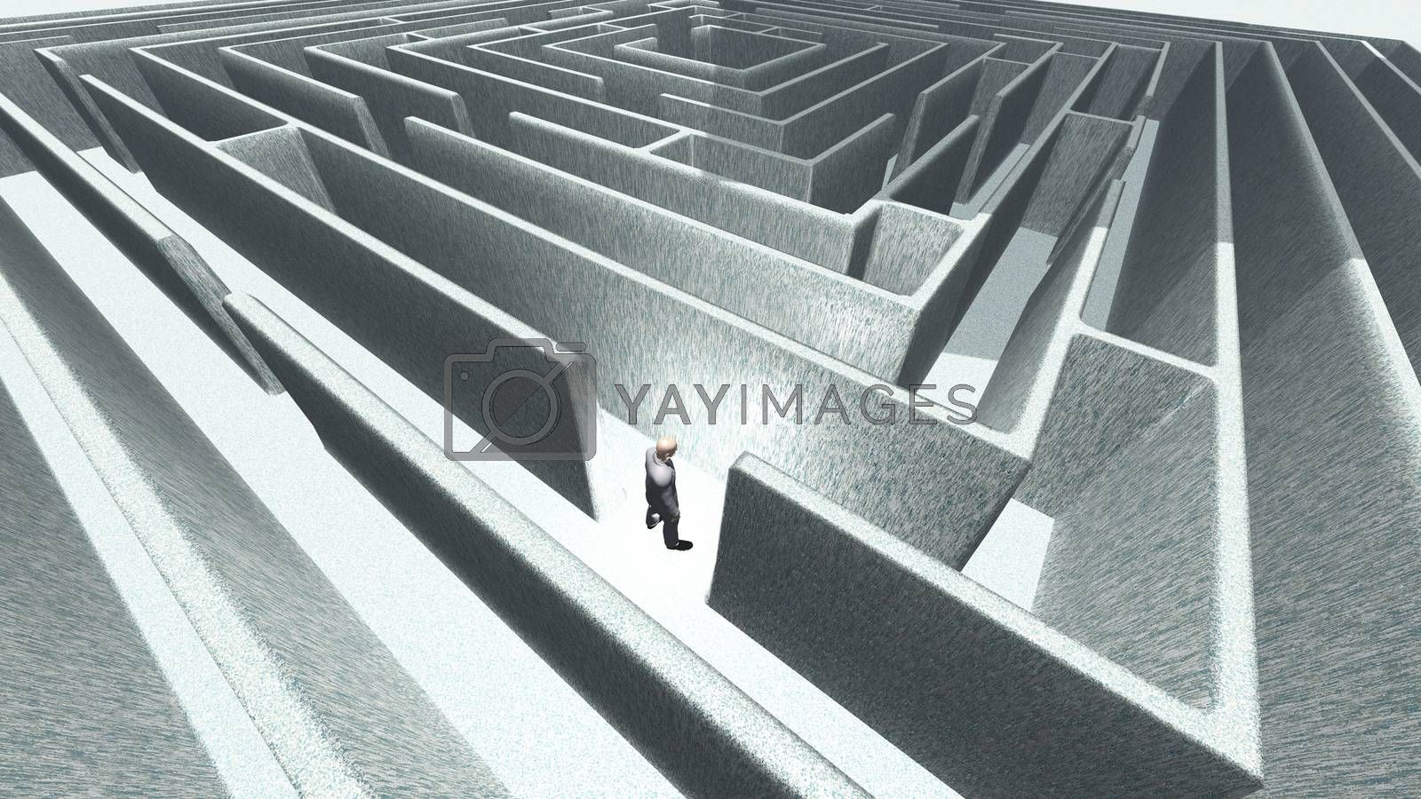 Man in 3D maze labyrinth
