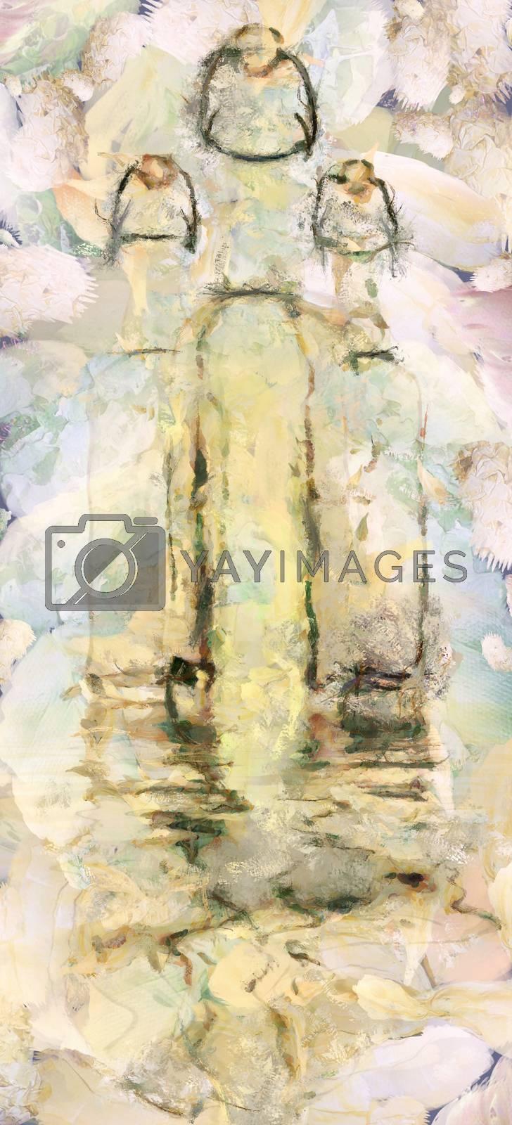 Modern art. Three glass bottles reflects in water.