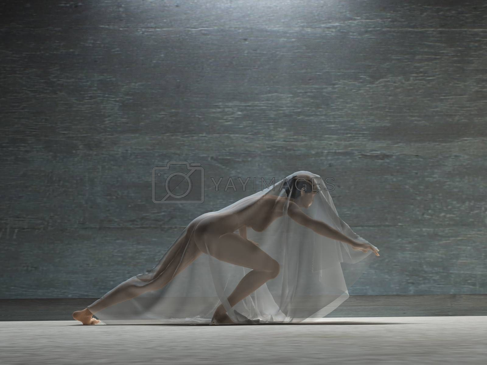 Girl covered with transparent cloth by applesstock