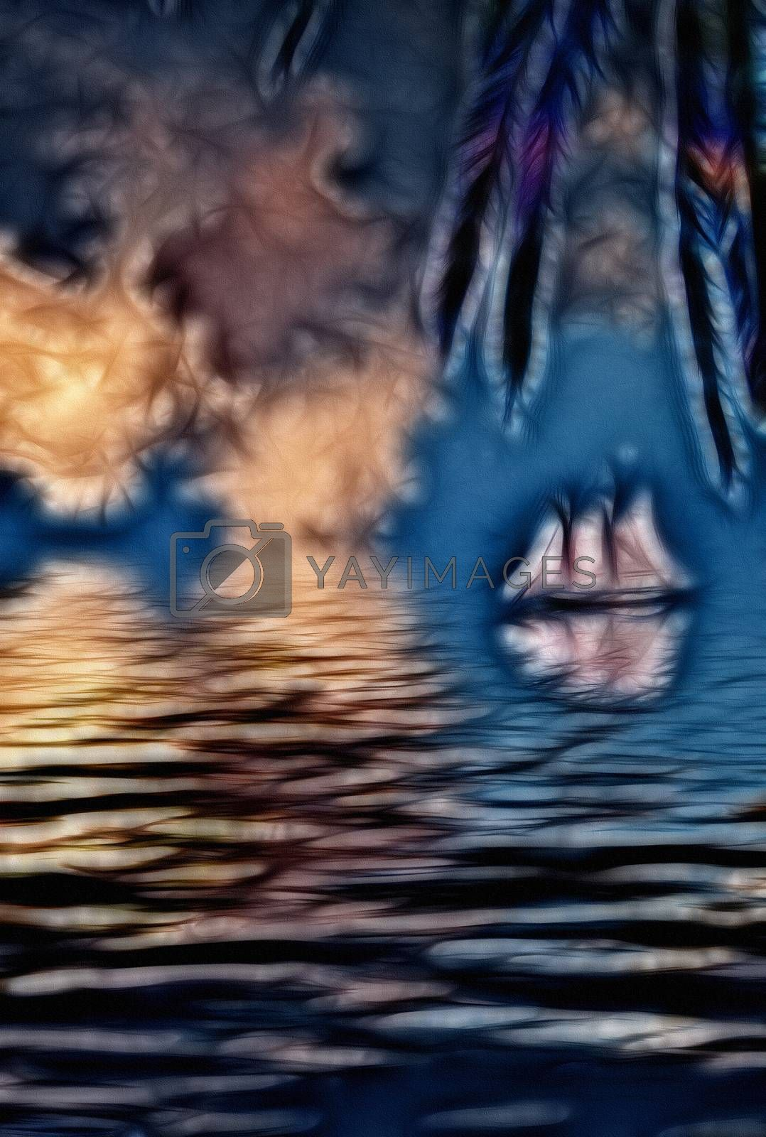 Abstraction. Sailboat in tropical waters