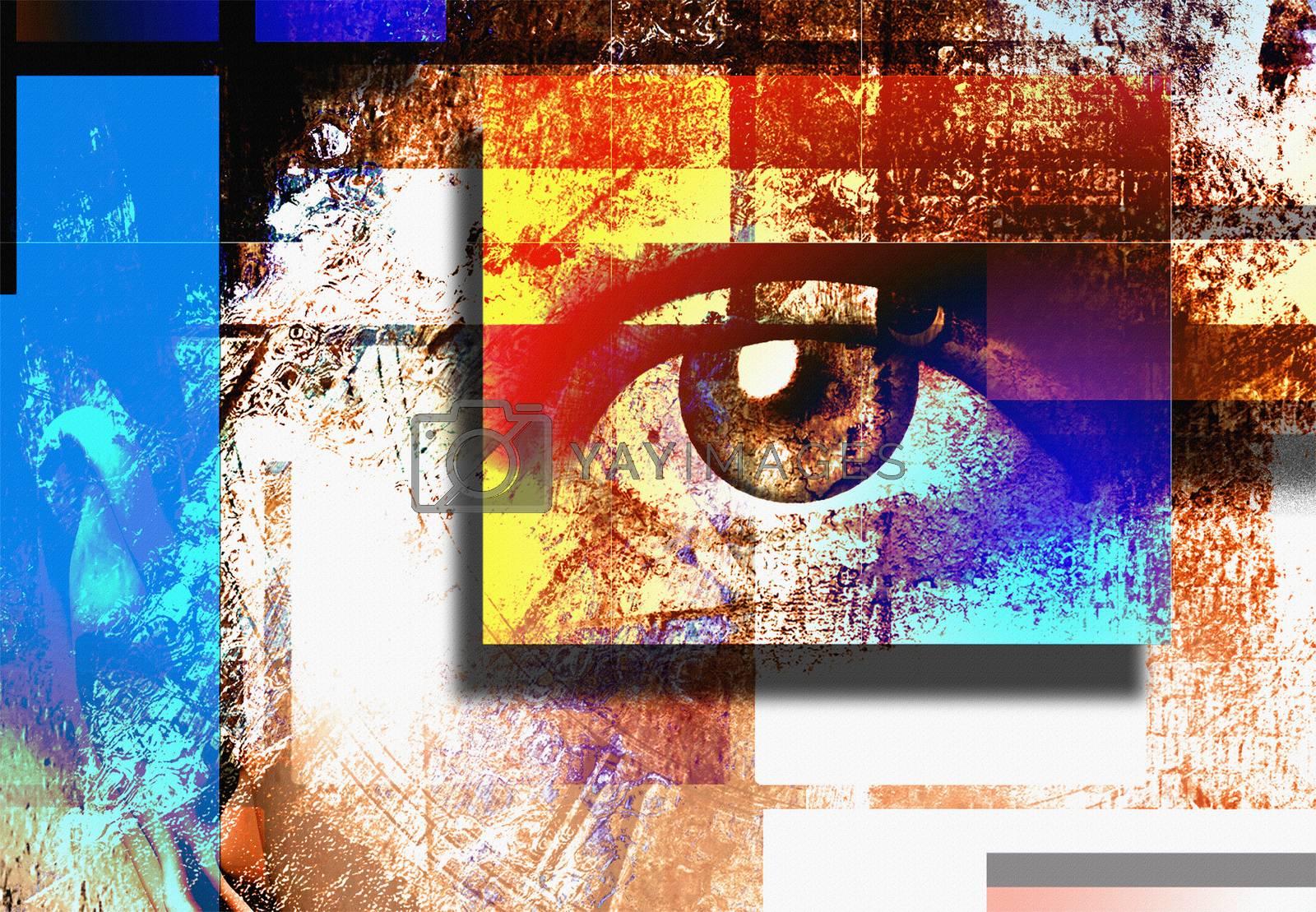 Surreal digital art. Human's eye. Mondrian style.