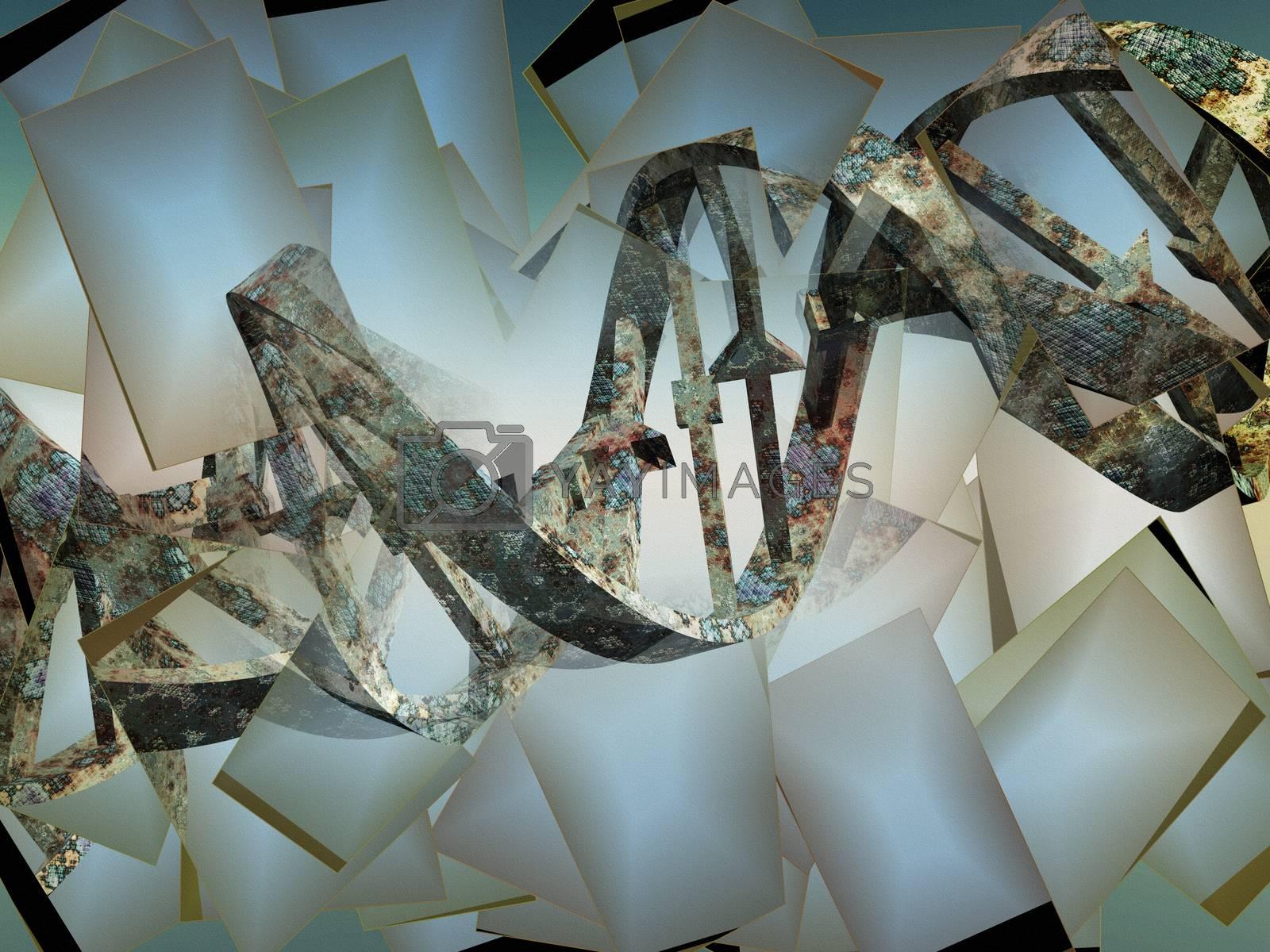Surreal digital art. Damaged rusted DNA strands.