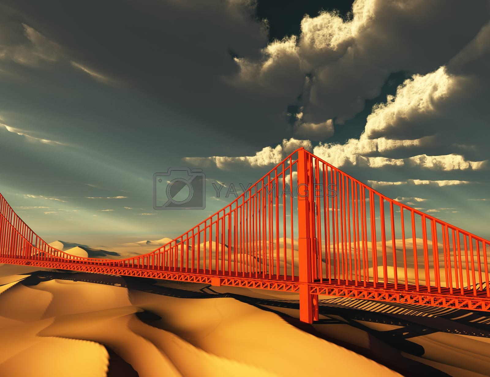 Golden Gate Bridge in desolate future