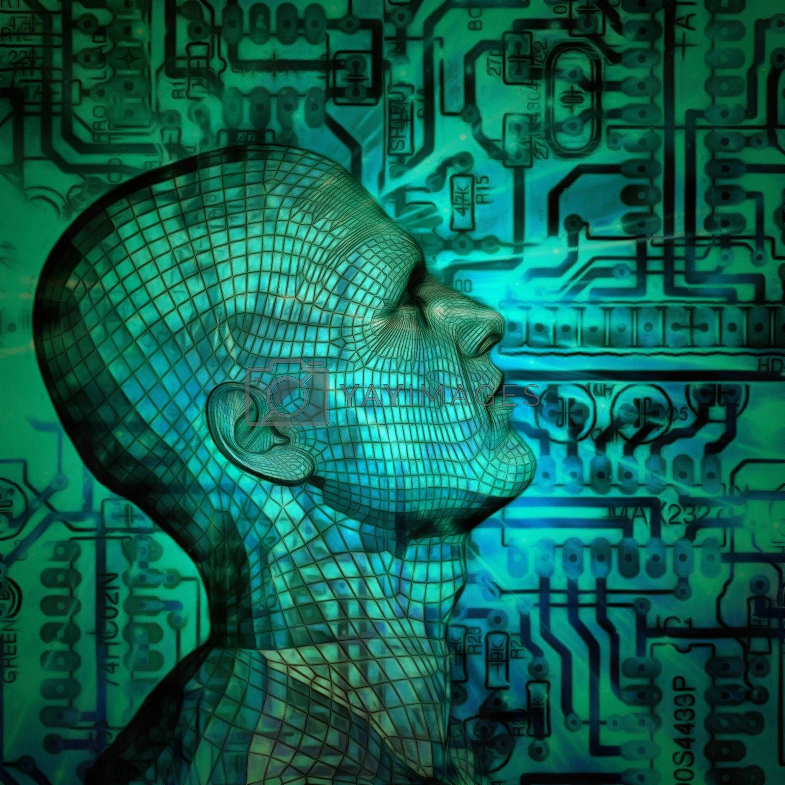 Surrealism. Cyborg man head with grid pattern, circuit board on a background.