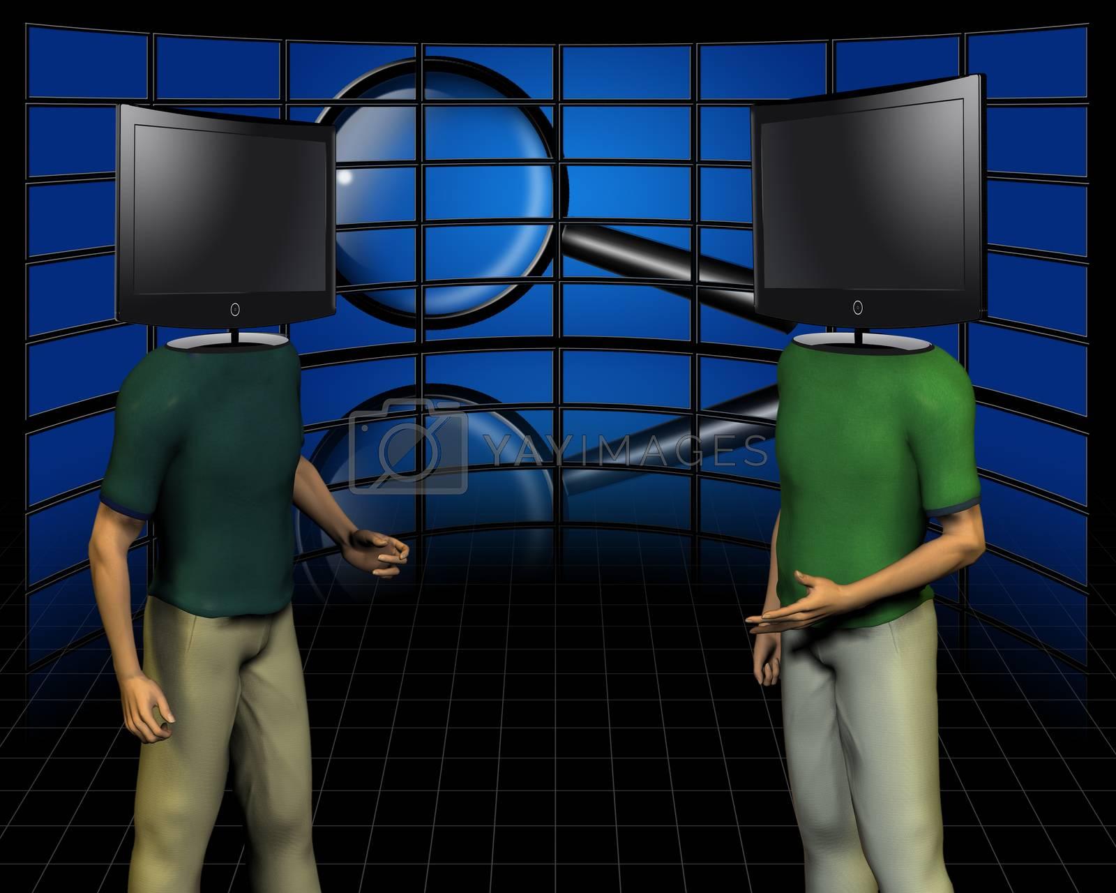Dispute.  TV screens - head man by applesstock