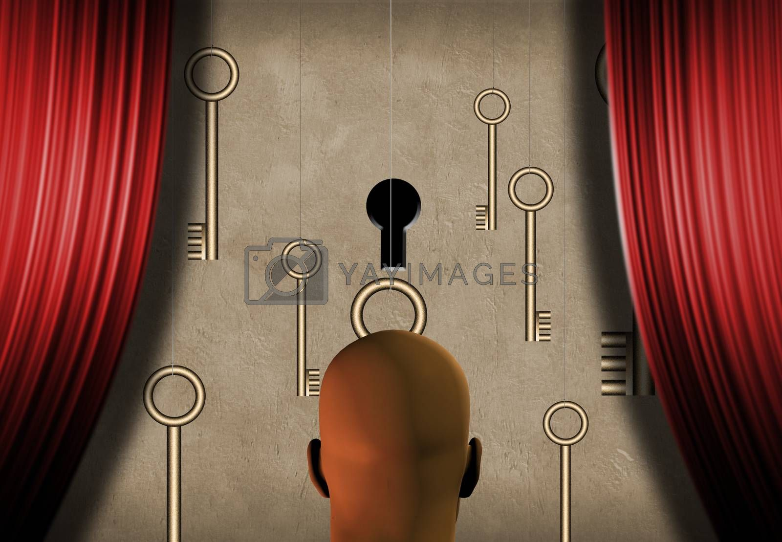 Surrealism. Bald man stands on a stage. Keys and one keyhole symbolizes choice. 3D rendering