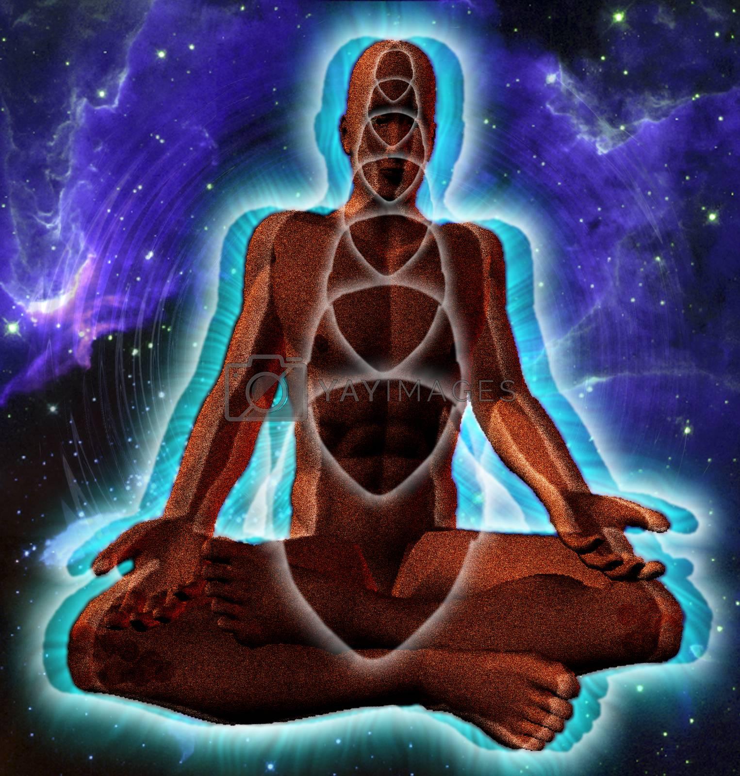 Man meditate in lotus pose. Space background