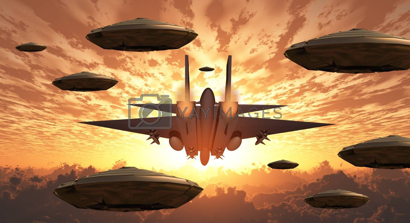 Aircrafts. Flying saucers and military jet plane by applesstock