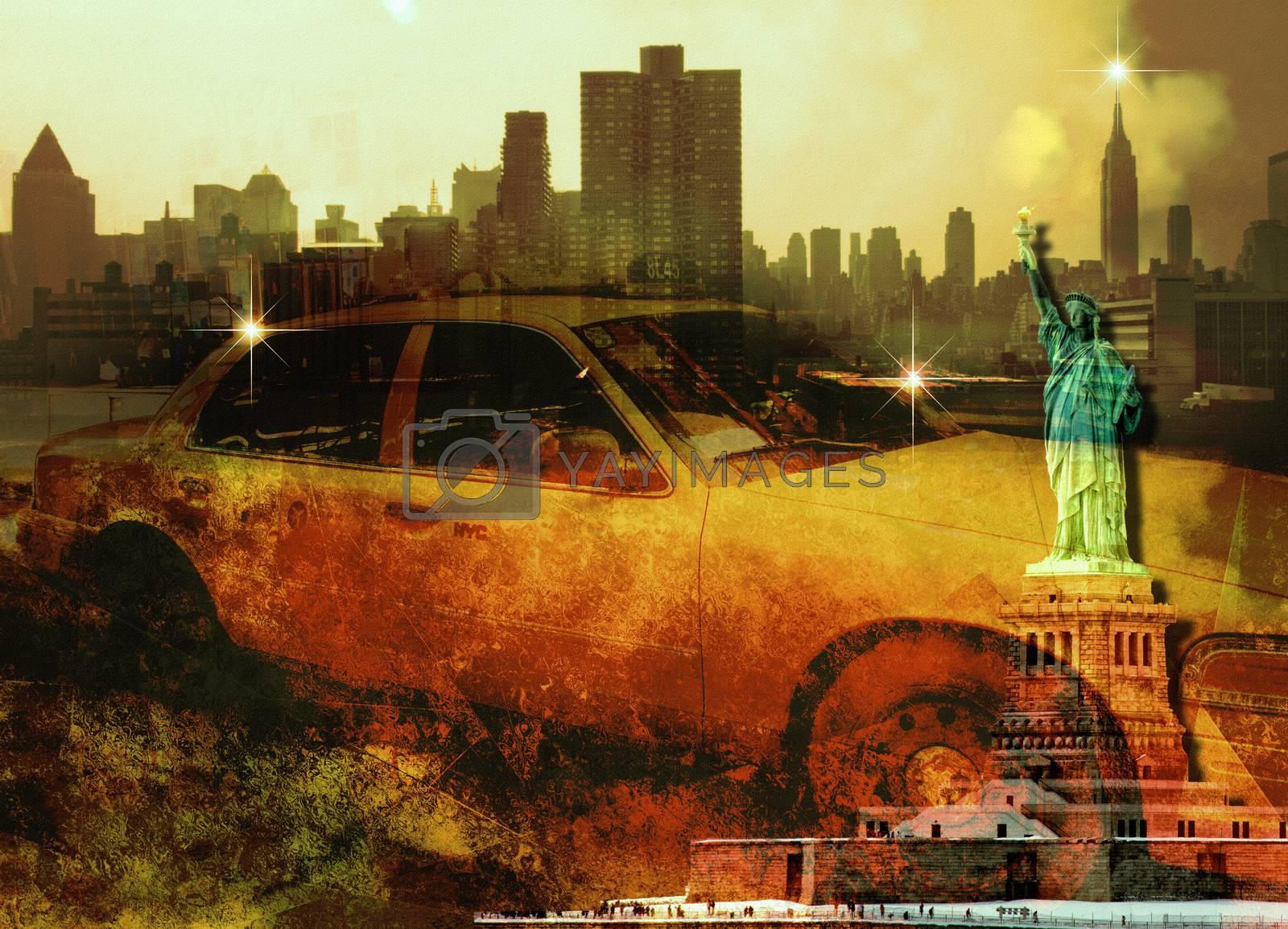 New York Yellow Cab. Liberty Statue. Manhattan skyline
