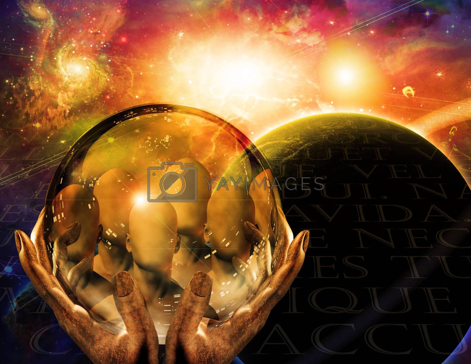 Seers vision in crystal ball