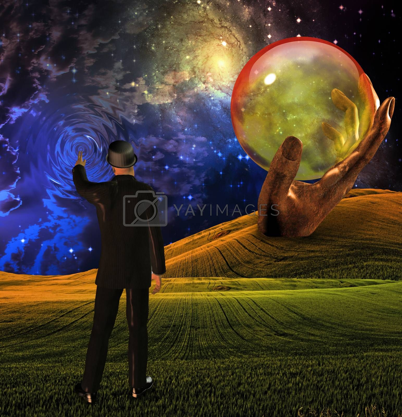 Man in suit touches sky by applesstock