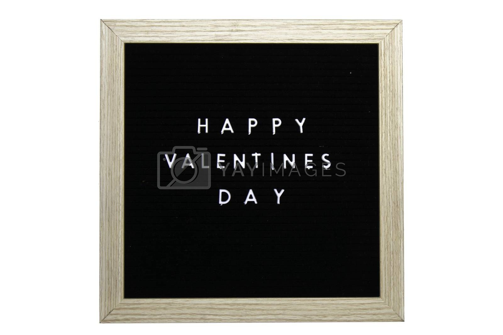 A Black Sign With a Birch Frame That Says Happy Valentines Day in White Letters on a Pure White Background