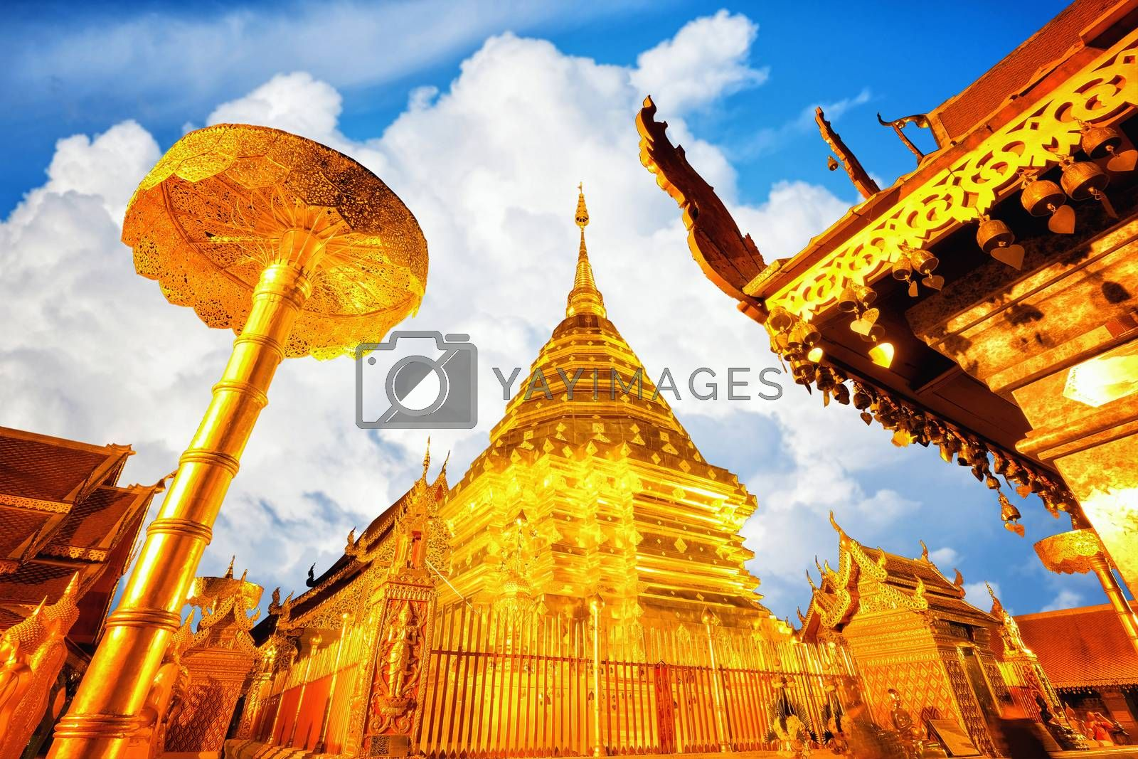 View of Wat Phra That Doi Suthep in daylight, Chiang Mai, Popula by Surasak