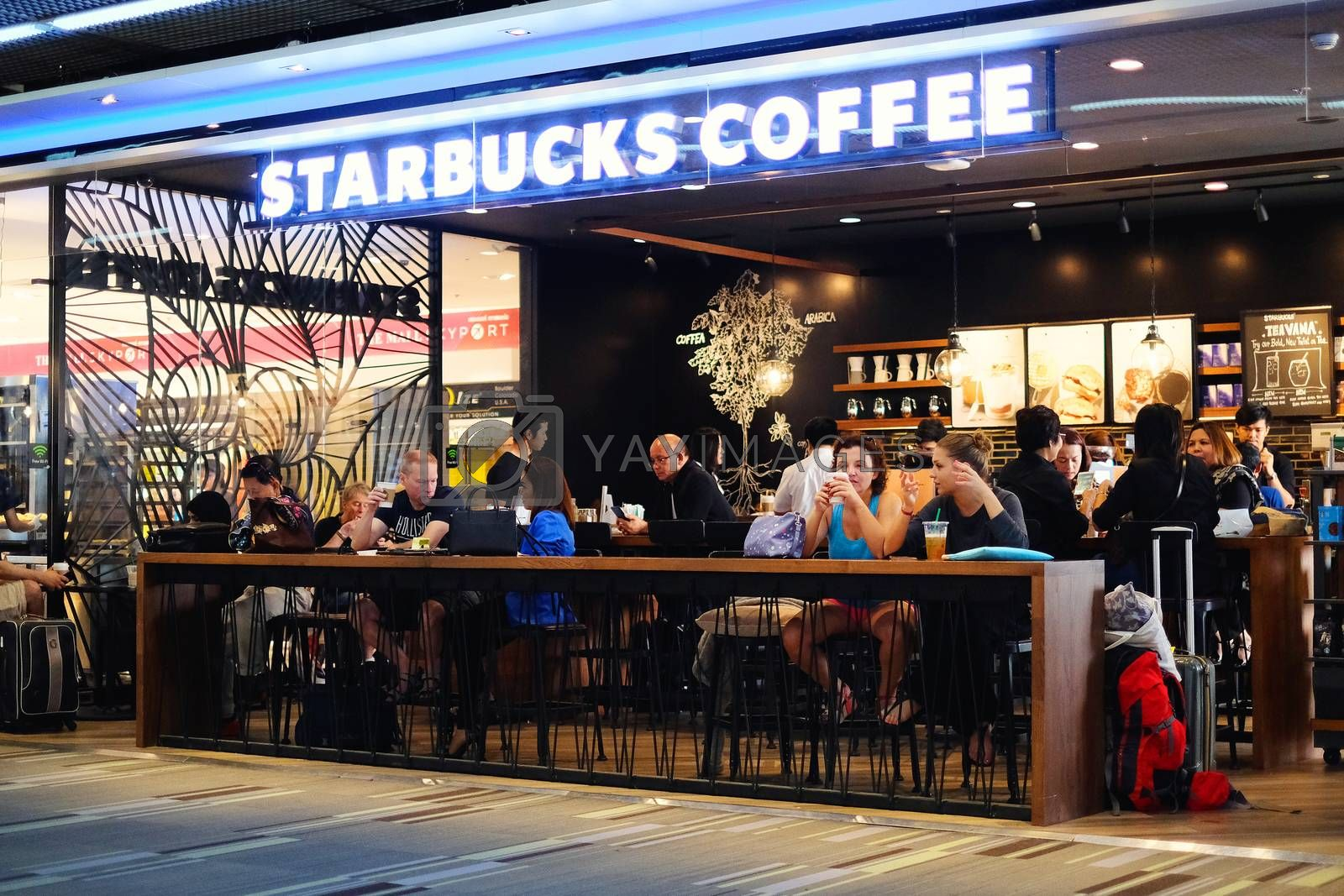 BANGKOK - SEPTEMBER 7 2016: Starbucks Coffee within Terminal 2 by Surasak