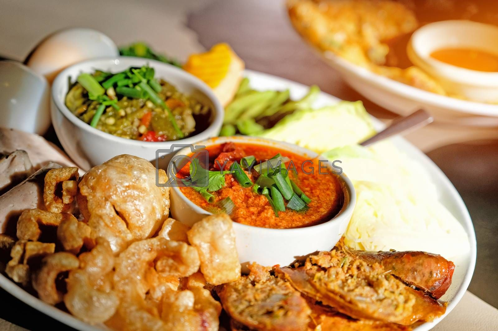 Thai food - Northern style red and green chilli dips with  north by Surasak