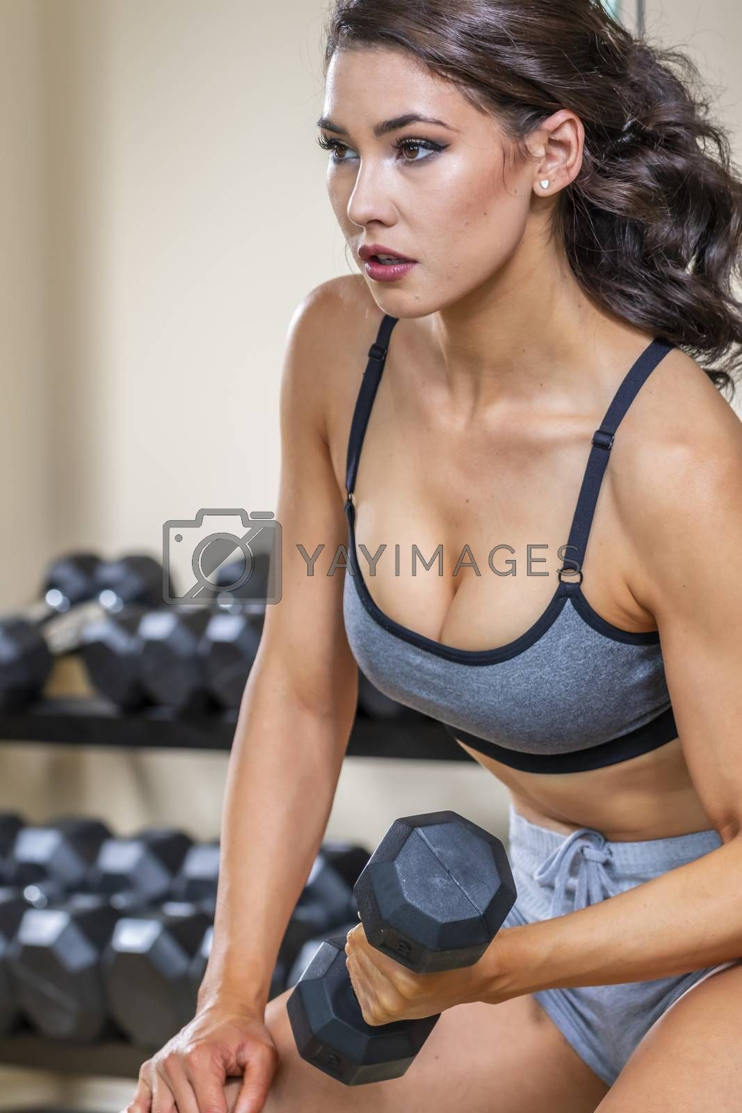 Gorgeous Brunette Fitness Model Working Out In A Studio Environment by actionsports