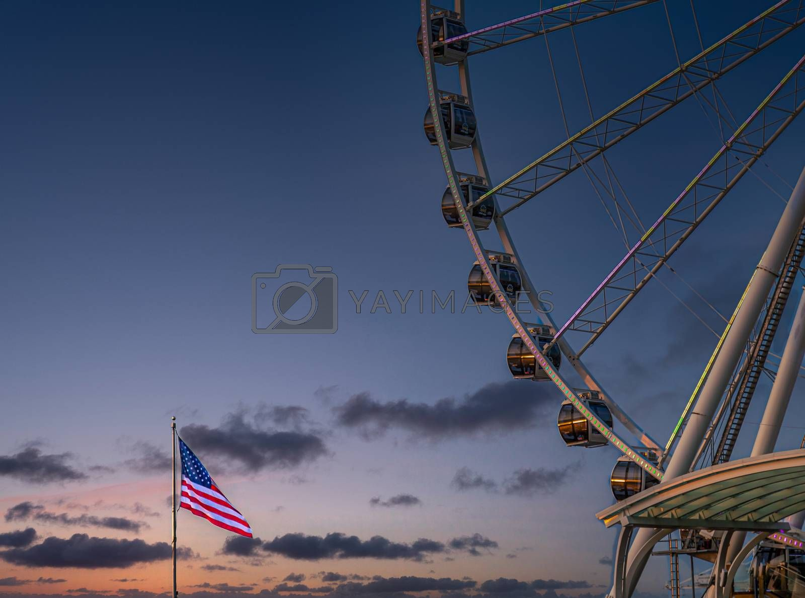 The ferris wheel on the waterfront of Seattle, Washington in late afternoon light