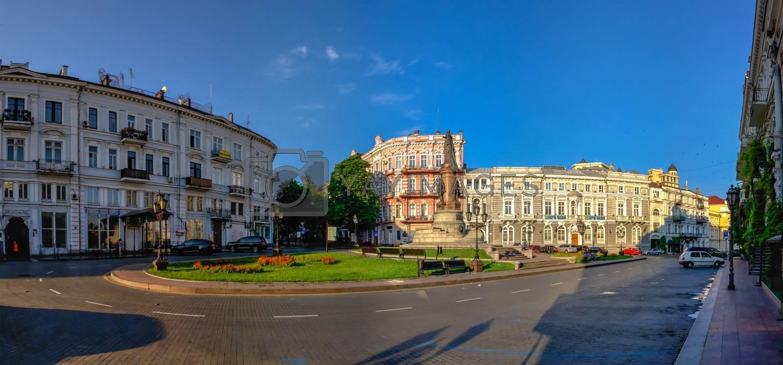 Odessa, Ukraine 06.30.2020. Ekaterininskaya Square in the historical center of Odessa, Ukraine, on a sunny summer morning