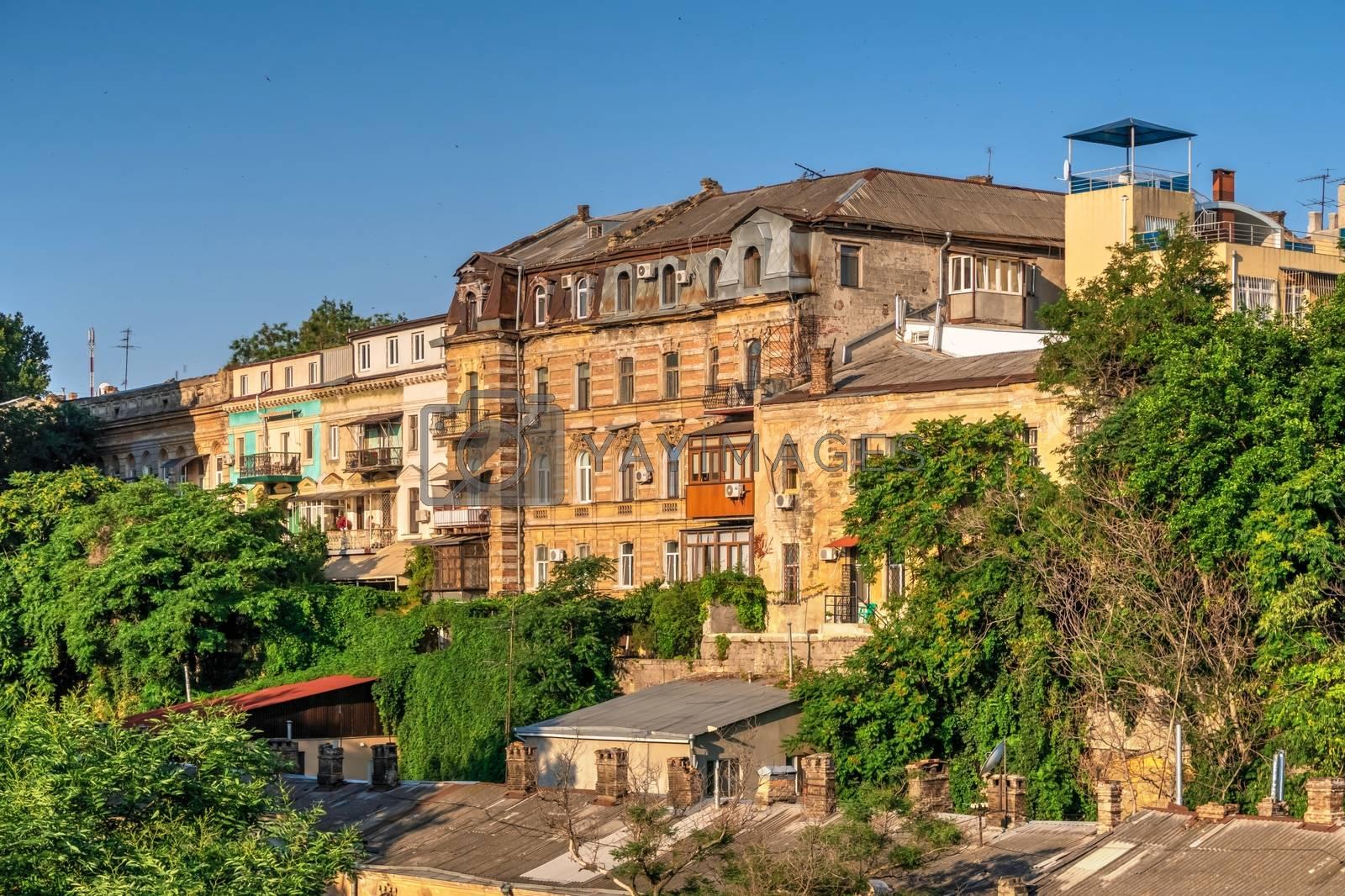 Odessa, Ukraine 06.30.2020. Old  buildings in the historical center of Odessa, Ukraine, on a sunny summer morning
