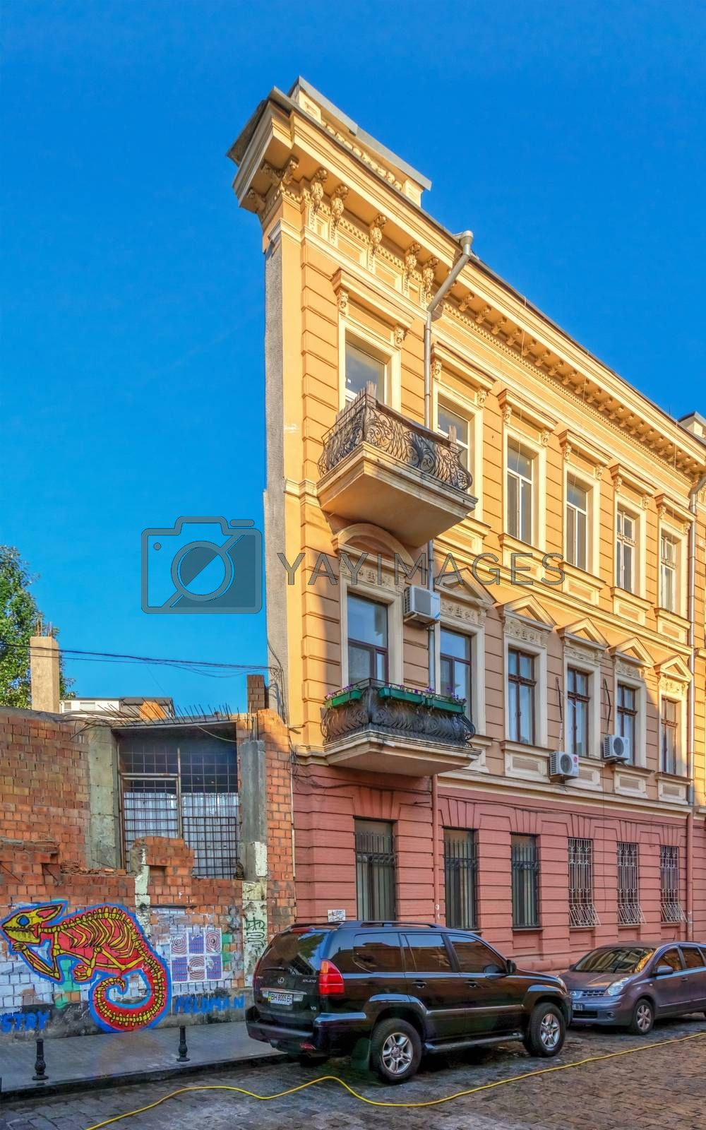 Odessa, Ukraine 06.30.2020. House with one wall in the historical center of Odessa, Ukraine, on a sunny summer morning