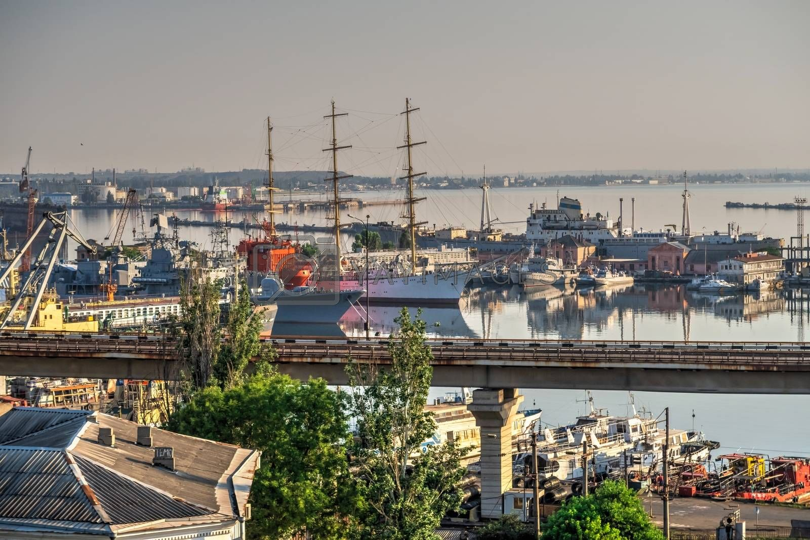 Odessa, Ukraine 06.30.2020. View of the Practical Harbor in Odessa, Ukraine, on a sunny summer morning